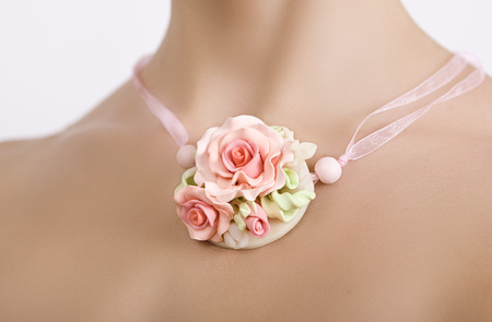 polymer clay jewelery: a floral rose necklace (jewelery made of polymer clay), romantic style, vintage accessories photo