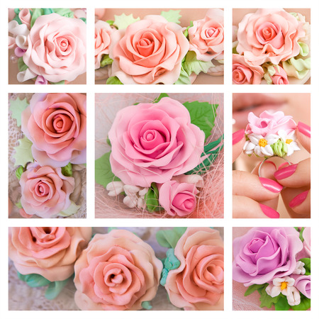 Beautiful roses: Collage of a different polymer clay jewelery: Fashion studio shot of a floral rose necklace (jewelery made of polymer clay) photo