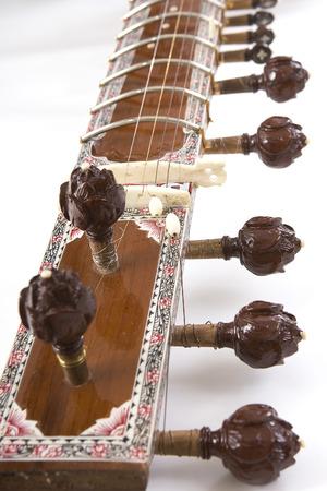 shankar: Sitar, a string Traditional Indian musical instrument, close-up