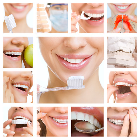 collage of photographs on the theme of dental care and healthy teeth photo