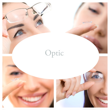 Optics Glasses and Contact lens. Collage of photographs on the theme of eye care Stock Photo