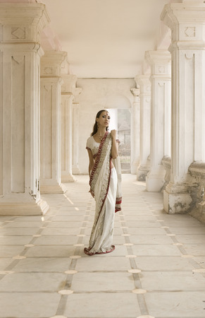 Beautiful young indian woman in traditional clothing with bridal makeup and oriental jewelry. Beautiful Girl bollywood dancer in Sari posing outdoor near the eastern palace