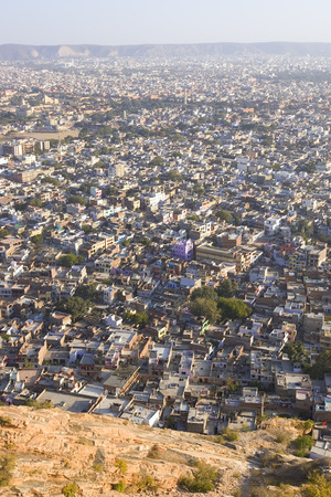 overpopulated: Panoramic View on Jaipur city, Rajasthan, India, may 2015