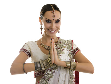 bollywood woman: Namaste: Beautiful Young smiling Indian Woman in Traditional Clothing with Bridal Makeup and Oriental Jewelry. Beautiful Girl Bollywood dancer (Bellydancer) in Sari. Eastern fairy tale