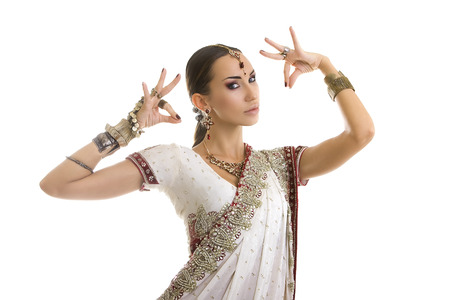 bollywood woman: Beautiful Young Indian Woman in Traditional Clothing with Bridal Makeup and Oriental Jewelry. Beautiful Girl Bollywood dancer (Bellydancer) in Sari. Eastern fairy tale Stock Photo