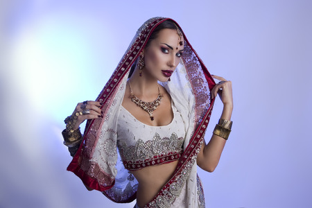 bollywood: Beautiful Young Indian Woman in Traditional Clothing with Bridal Makeup and Oriental Jewelry. Beautiful Girl Bollywood dancer (Bellydancer) in Sari. Eastern fairy tale (blue lens effect) Stock Photo