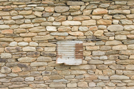 stone wall: Texture of old stone brickwork - Rough brick wall, Old window