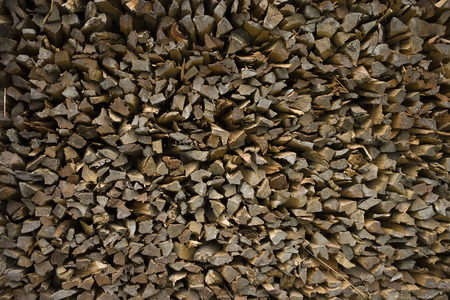 kindling: Firewood - pieces of teak wood, background, the sections Stock Photo