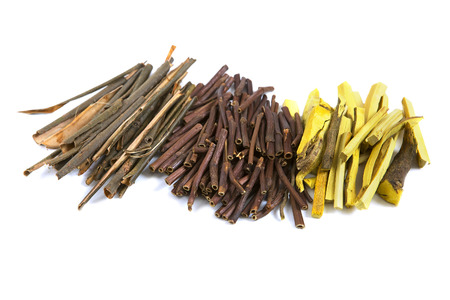 barks: Set of Dry Medical Herbs and Roots: Barberry Dried Root, White Willow Bark Medical, Dry Marsh Cinquefoil, Potentilla palustris. Alternative Medicine