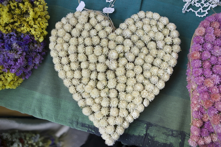 valentin day: heart from white flowers, valentin day