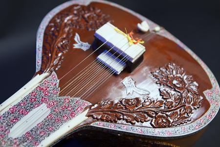 shankar: Sitar, a String Traditional Indian Musical Instrument, close-up, blue lens effect. dark background. Evening of ethnic oriental music. Indian Raga