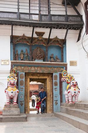 darbar: KATHMANDU, NEPAL may 2014: Visitors of the museum Hanuman Dhoka in Kathmandu, Nepal on may 2014. The city is surrounded by four major mountains: Shivapuri, Phulchoki, Nagarjun, and Chandragiri