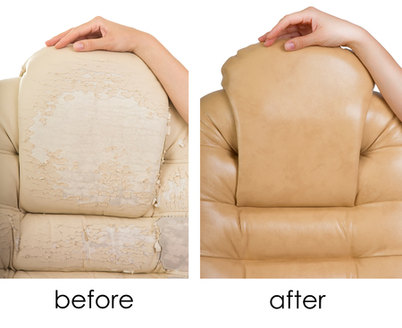 Old Crannied and New Office Boss Chair (armchair). Restoration of Old Furniture, before and after collage. Replacing Material, update. Dermatin chair requiring tissue replacement, instauration.