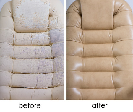 crannied: New and Old Crannied Office Boss Chair (armchair). Restoration of Old Furniture, before and after. Grown old upholstery. Replacing Material, update. Dermatin chair requiring tissue replacement, instauration Stock Photo