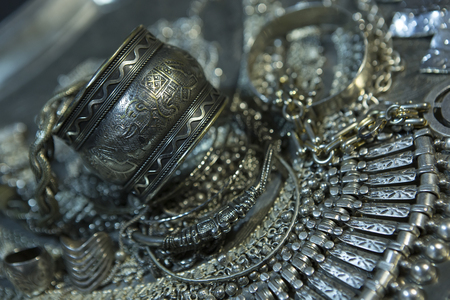 chainlet: Silver jewelry. Lot of Beautiful Oriental Silver, Gold (Indian, Arab, African). Fashion Ethno Accessories, Asian Bridal jewelry. Tribal Moroccan belly Dance Jewelry. Necklace, Earrings, Bracelets Stock Photo