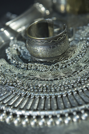 Silver jewelry. Lot of Beautiful Oriental Silver, Gold (Indian, Arab, African). Fashion Ethno Accessories, Asian Bridal jewelry. Tribal Moroccan belly Dance Jewelry. Necklace, Earrings, Bracelets Stock Photo