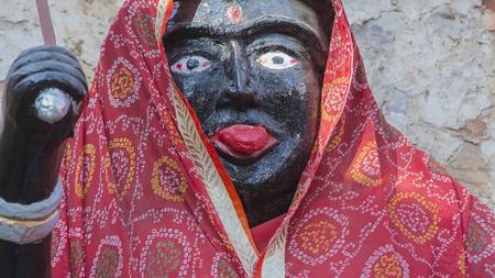 shakti: Goddess Kali Ma Murti in Jaipur Temple near local smashan. Statues of Hindu Gods and Goddess in Rajasthan. Black Kali sculpture in small hindu Mandir. Kali Ma destroys ignorance Stock Photo