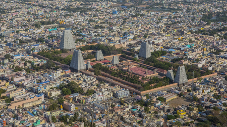 Top view of the Tiruvannamalai city and Arunacheshvara Temple. View of  Indian Shiva Temple from Arunachala hill. Beautiful Panoramic view of the holy city in Tamil Nadu. Spiritual and Religious of India. Stock fotó