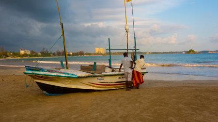 Weligama, Sri Lanka - Feb 2018: Fishing Boats in Sri Lanka on Feb 2018. Sri Lankan Fishing. Sea view. Seafood is very popular on Sri Lanka. People sold it to the restaurants.