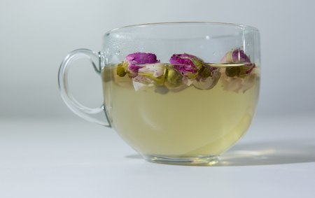 Tea EvaDia Mei Gui Hua Bao, Rose buds close-up. Flower and herbal tea, Mei Gui Hua. This category can also be called herbal infusions, or tisanes. A floral, exotic tea. Wellness and Detox.