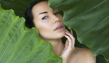 Young woman's face surrounded by tropical leaves. Woman face with Natural nude make-up on a tropical leaf background. Natural cosmetic and wellness concept. Purity and skincare. Space for text