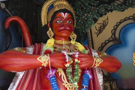 Hanuman. Statues of Hindu Gods and Goddess in Ayodya. Murti in hindu temple. Indian God sculpture. Spiritual Traditions of India