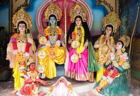 AYODYA, INDIA – Oct 2019: Statues of Hindu Gods and Goddess in Ayodya, India on Oct, 2019. Ayodhya the birthplace of Rama.