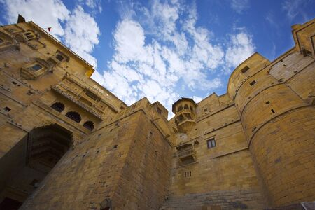 Jaisalmer Fort in India. Beautiful Ancient Indian fortification Architecture. Hill Forts of Rajasthan. View of the military indian fort. 版權商用圖片
