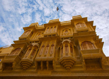 Golden City Jaisalmer, Rajasthan, India. The beautiful architecture of Jaisalmer. Oriental style houses. Streets of Rajasthan