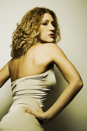 Fashion model with blonde curly hair Stock Photo