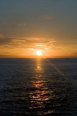 An ocean view at dusk.