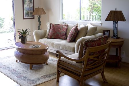 A cozy living room with sun reflection Stock Photo - 2422520