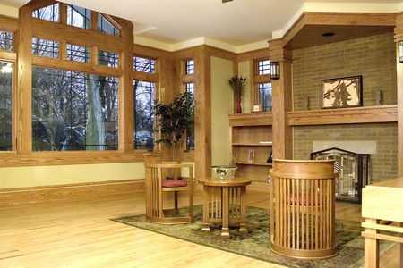 Living room with prairie style decor.