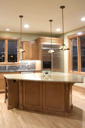 domestic kitchen: Modern granite and wood decor kitchen