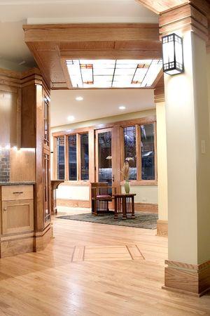 Elegant living area with wooden decor. Stock Photo