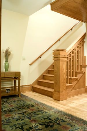 Staircase in the interior of a designer home. Stock Photo