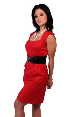 retro woman: An asain woman wearing a red dress.