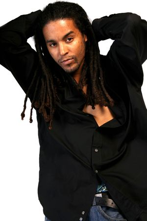 An African American male with dreadlocks.