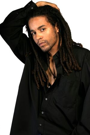 African American male playing with his hair. photo