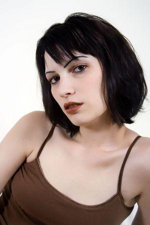 Dark haired woman Stock Photo