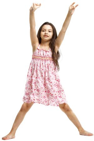 highkey: Young girl posing on a white background. Stock Photo