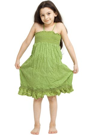 Young girl posing on a white background. Stock Photo