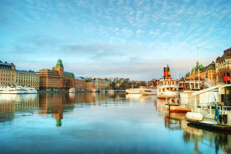 stockholm: View of central Stockholm at dawn. Stock Photo