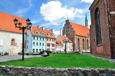 latvia: Buildings in Old Town in Riga, Latvia Editorial