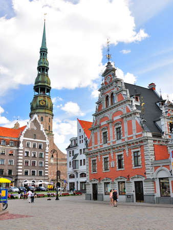 riga: Buildings in Old Town in Riga, Latvia Stock Photo