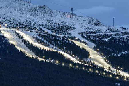 re: Ski slope in Are (Åre), Sweden at dusk Stock Photo