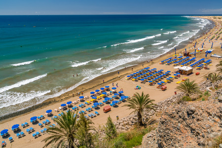 View over the beach of Playa del Ingles on Gran Canaria in Spain Editorial