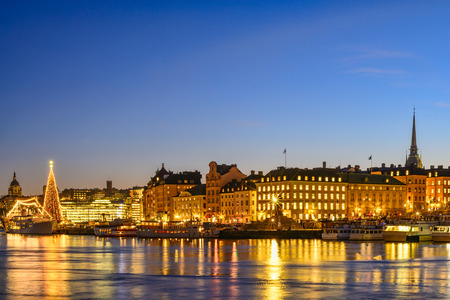 gamla stan: View over the famous Gamla Stan in Stockholm, Sweden at dusk Stock Photo