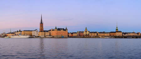 gamla stan: Panorama view over old buildings in Gamla Stan in Stockholm, Sweden Stock Photo