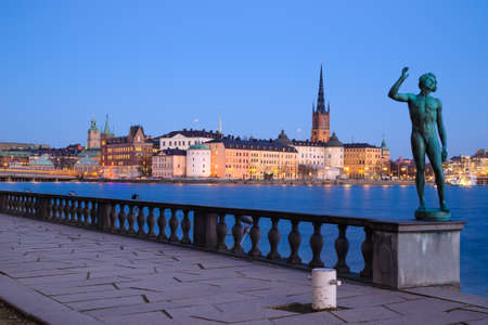 gamla stan: View over Gamla Stan in Stockholm from the garden of the City Hall Stock Photo